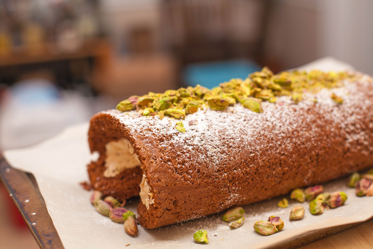 Strawberry Charlotte Russe & Pistachio Chocolate Roulade